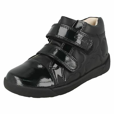 8291f945488 GIRLS CLARKS LEATHER Riptape Strap Bow Detail Mary Jane School Shoes ...
