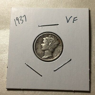 1937 US. Silver Mercury Dime / Very Fine
