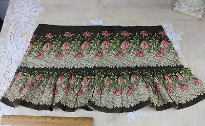 Antique Printed Cotton Fabric c1870~Carnations & Lace Border Design~Dolls,Quilts
