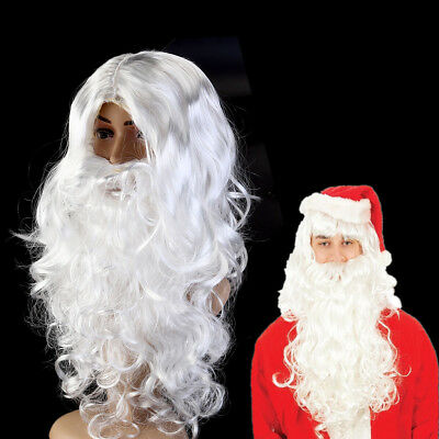 Full White Curly Santa Clause Super Deluxe Adult Wig and Beard Christmas