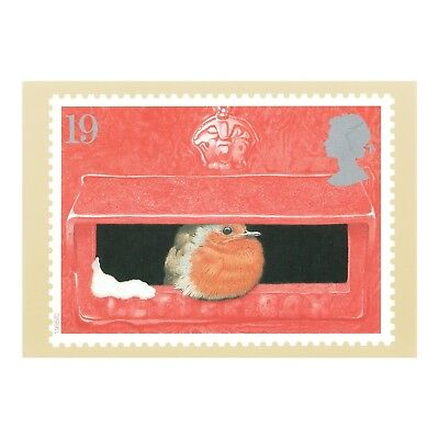 CHRISTMAS 1995 - ROBIN REDBREAST in the LETTER-BOX - ROYAL MAIL PHQ 175 POSTCARD