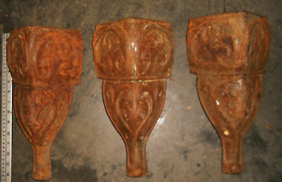 """Architectural Salvage 3 Cast Iron Legs Table Pedestal Stand Brackets Approx 14"""""""