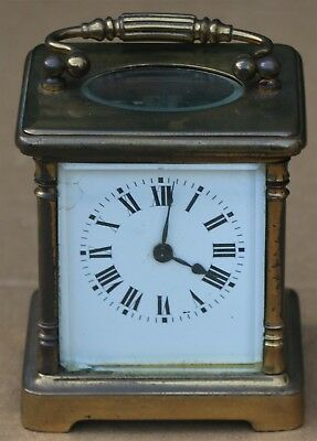 Old Dirty Looking But Working Old Small Brass Carriage Clock