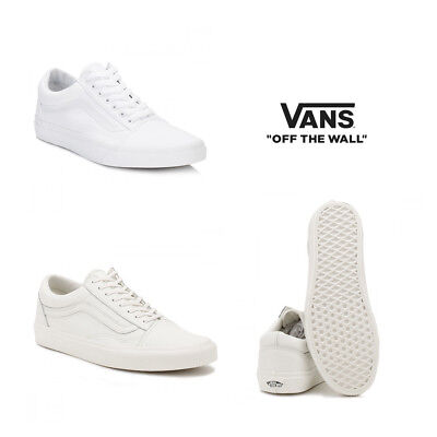 Vans Mens   Womens True White   White Old Skool Canvas Trainers Size 3 to 12 8a4432cca