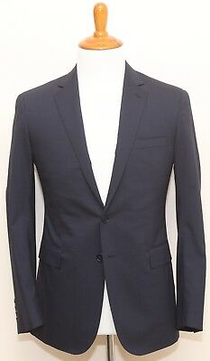 NEW Ralph Lauren Black Label Navy Blue Checkered Two Button Wool Suit 38R