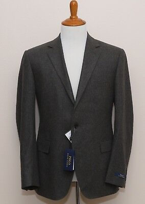 NEW Polo Ralph Lauren Solid Gray Flannel Two Button 100% Wool Men's Suit 42R