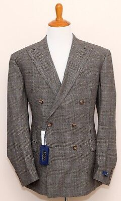 NEW Polo Ralph Lauren Prince of Wales Double Breasted 100% Wool Flannel Suit 42L