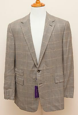 NEW Ralph Lauren Purple Label Savile Row Prince of Wales Gray Wool Suit 46R