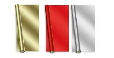 8M Christmas Foil Gift Wrap Wrapping Paper Metallic Gold Silver Red Green Xmas