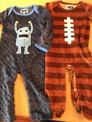 Mud Pie Boys Sleepers One Piece Velour Football Monsters 6-9 Months
