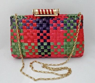 Vintage RODO ITALY Wicker Clutch Shoulder Purse, Hard Sided Multi Festive Colors