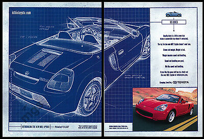 Toyota MR2 Spyder print ad May 2000 Convertible, no top cover, blueprint