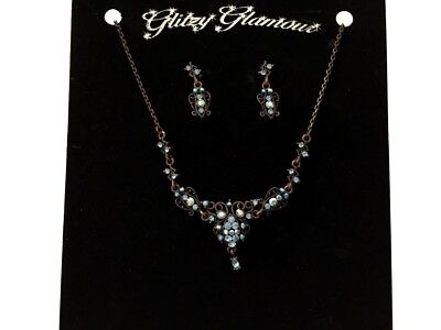 Sparkly blue crystal diamante necklace set rhinestone party prom bridesmaid 032