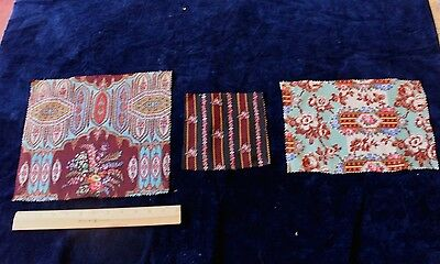 3 Pieces Antique French Hand Block Printed Wool Chalis Fabrics c1838