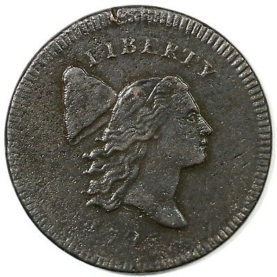 "1795 c-5a R3 ""Plain Edge, No Pole"" Liberty Cap Half Cent Coin 1/2c"