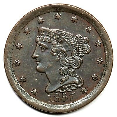1857 Braided Hair Half Cent Coin 1/2c