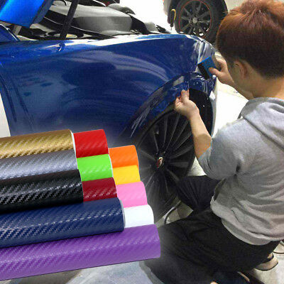3D Carbon Fiber Vinyl Car Wrap Sheet Roll Film Sticker Decal 127x30cm