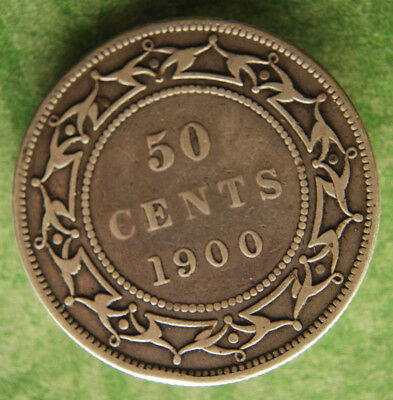 NEWFOUNDLAND 1900 50c cents Nice detail STERLING .925 CANADA coin