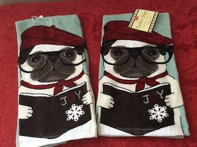 Set of 2 - Pug Dog Wearing Glasses & a Hat Holiday Christmas Kitchen Hand Towels