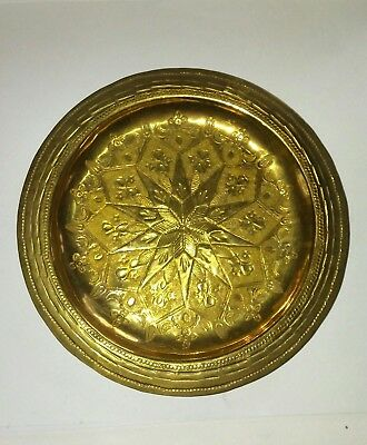 "6"" Antique Vintage Hand Engraved Etched Brass Plate/Wall Hanger Made In India"