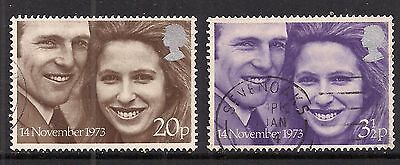 GB 1973 QE2 Royal Wedding set of used stamps ( A1158 )