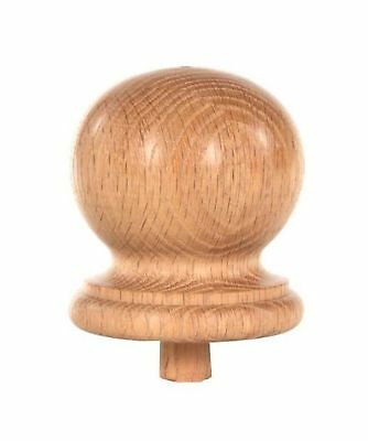 "Staircase Round Finial Newel Post Cap Red Oak Wood (3.25"" D x 3.5"" H) FN-0103"