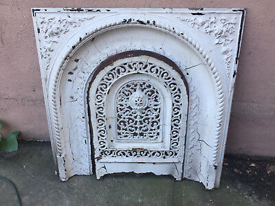 Antique Cast Iron Fireplace Mantel Surround Arched Vintage