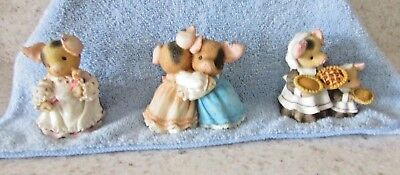 """Enesco """"this Little Piggy"""" Lot Of Three Designed By Mary Rhyner-Nadig"""