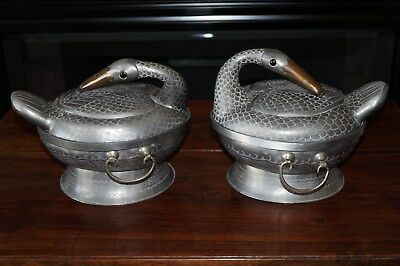 PAIR Antique Chinese Paktong Pewter Duck Serving Bowls & Covers