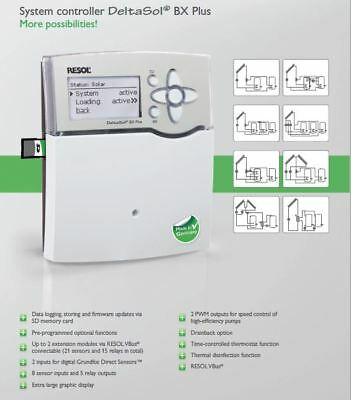 Solar Hot Water Controller -Resol DeltaSol BX PLUS & 5 sensors, Made in Germany
