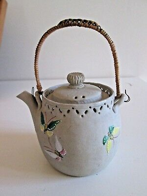 Vintage Small BANKO WARE Clay TEAPOT TEA POT Butterfly Decoration