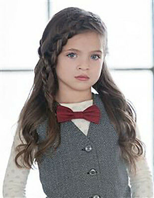 EUC girls' Persnickety Clothing deep red bowtie necklace from the Penny Lane lin