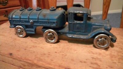 vintage cast iron gas and oil truck and trailer, Blue