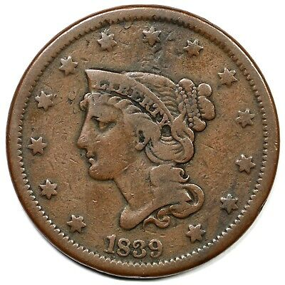 "1839 ""Head of '40"" Petite Head (N-8, R1) Large Cent Coin 1c"