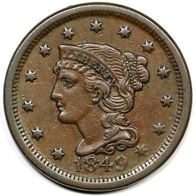 1849 N-8 R2 Braided Hair Large Cent Coin 1c