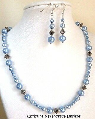 SKY BLUE GLASS PEARL Graduated Strand Bead Beaded Bridal NECKLACE & EARRING SET
