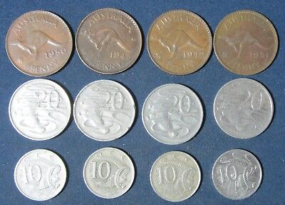 12 vintage Astraila coins dating to 1942
