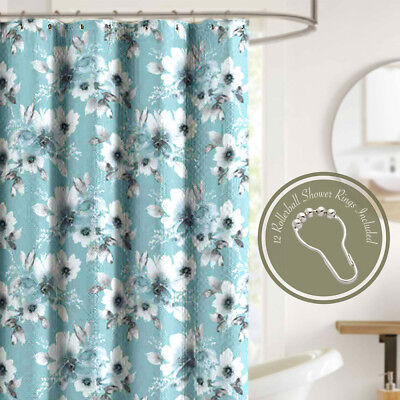 Shower Curtain Set With Ring Hooks Paris Eiffel Tower Teal Textured Fabric