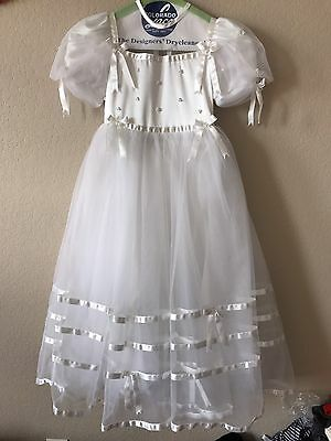 Flower Girl Dress Bridal First Communion Formal Gown Girls White Dress Size 5