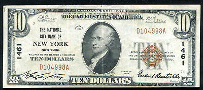 1929 $10 The National City Bank Of New York, Ny National Currency Ch. #1461