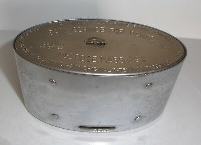 Antique Chase Brass Coin Bank - EARL SERVICE FOR BANKS - MELROSE, MASS. USA