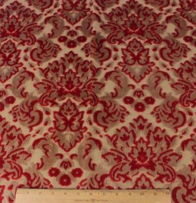 "Vintage French Cotton Cut Christmas Red Velvet Frame Fabric c1930s~20""LX22""W"
