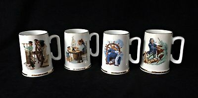 Retro 1986 Norman Rockwell Museum Collections Inc. Set of Four Mugs - NEW