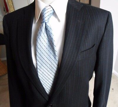 Brooks Brothers Regent Fit Blue  Striped  Flannel Wool Flat Front Mens Suit 41L