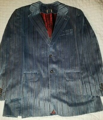 Beautiful Firado Italia Mens 40R Striped Blue Velvet Sport Coat Blazer Jacket