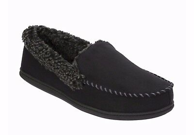 Dearfoams® Mens Microfiber Suede Moccasin Slippers  Black, Small (7-8)