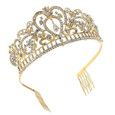 PIXNOR Crystal Rhinestone Wedding Headband Tiara Comb Hair Crown Pageant Prom