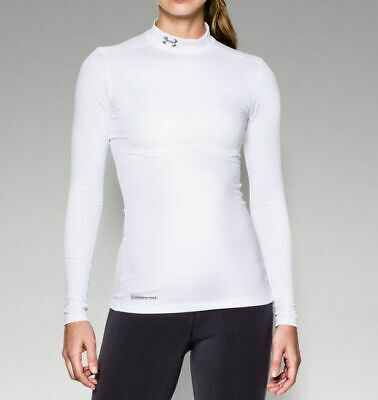 Under Armour Women's ColdGear Fitted Long Sleeve Mock Shirt 1215968-100 White