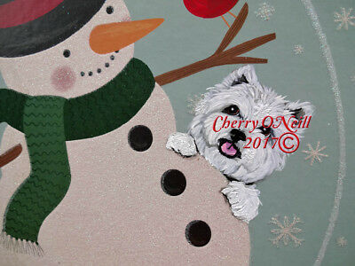 West Highland White Terrier Merry Christmas Wall Sign for Westie Holiday Decor