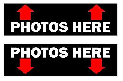 (2) Photos Here Photo Booth Stickers for Photobooth Enclosure
